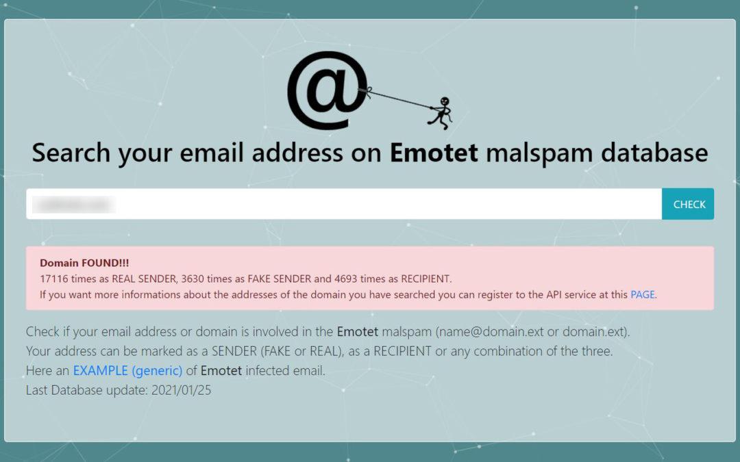 Esta web te permite comprobar si tu correo o dominio ha sido utilizado en ataques de Emotet, «el malware más peligroso del mundo»